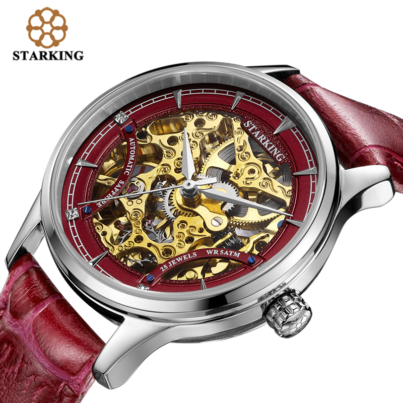 STARKING Red Women Automatic Mechanical Skeleton Watches Relogios Luxury Famous Brand Genuine Leather Strap Sapphire Wrist Watch famous brand winner watch woman leather strap automatic mechanical watches women skeleton mechanical wristwatch hodinky