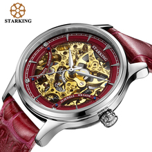 STARKING Red Women Automatic Mechanical Skeleton Watches Relogios Luxury Famous Brand Genuine Leather Strap Sapphire Wrist Watch
