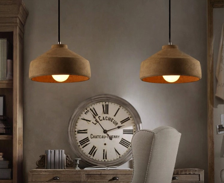 Vintage Cement Pendant Lights Hanging Lamps For Living Room Restaurant Coffee Shop Lamparas Colgantes Hall Lighting