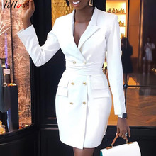 White Casual Professional Dress Mini dress Spot! Suit collar  double-breasted slim jacket dress 42fe71f32b26