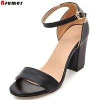 ASUMER black pink beige fashion summer ladies shoes buckle square heel elegant women high heels sandals big size 33 43