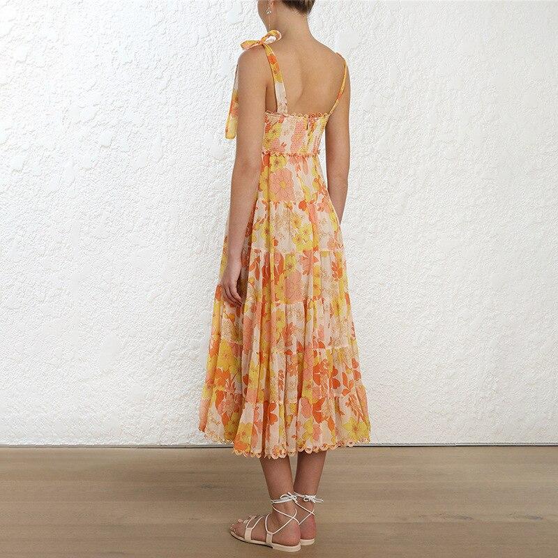 Floral impressão feminina vestido de praia para o mar com arco sem mangas cinta elástica cintura fora do ombro vestidos midi feminino verão 2019 - 2