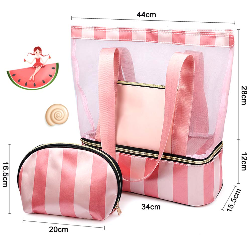 34*15.5*40cm Women Swimming Bag Mesh Bags Handbags Wet And Dry Swimsuit Bags Net Travel Pool Beach Pouch Collection