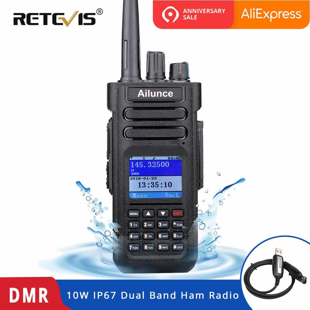 Double Bande DMR Retevis Ailunce HD1 talkie walkie numérique Jambon radio amateur (GPS) 10 W VHF UHF DMR Deux Façon émetteur-récepteur radio + Câble