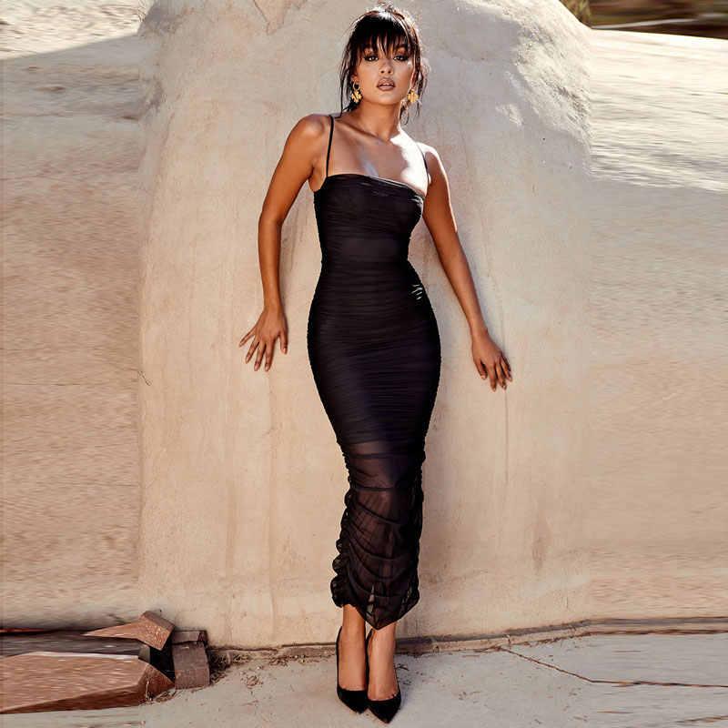 Лето slash шеи сексуальный разрез Длинные платье с воротником хомутиком black mesh sheer Макси платье телесного цвета женские вечерние Плотно плиссированные трубки платье с топом