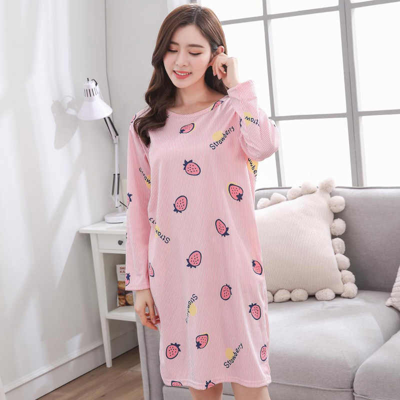Yidanna nightwear 2018 long sleeved pijamas Nightgown women sleepshirts  milk silk girls sleepwear sleep clothing autumn 1d2dcd3a3