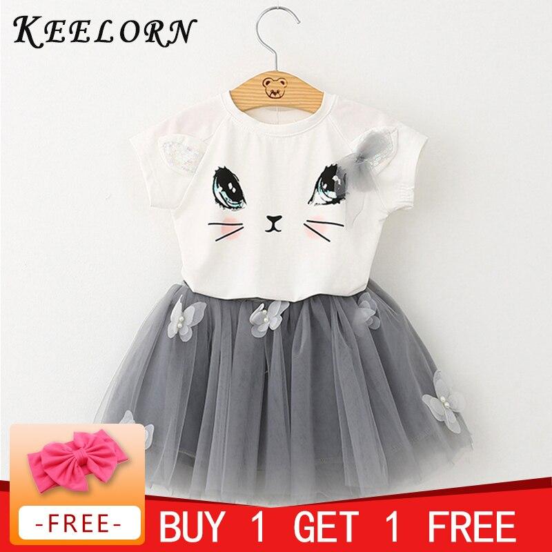 1ec61316ad4 Girls Dresses 2016 Brand Girls Clothes White Cartoon Short Sleeve  T-Shirt+Veil Dress 2Pcs Children Clothes
