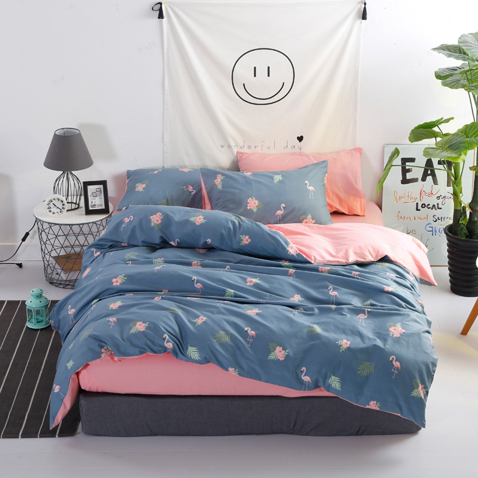 Flamingo Duvet Cover Set Cotton Flannel Plants Quilt Cover