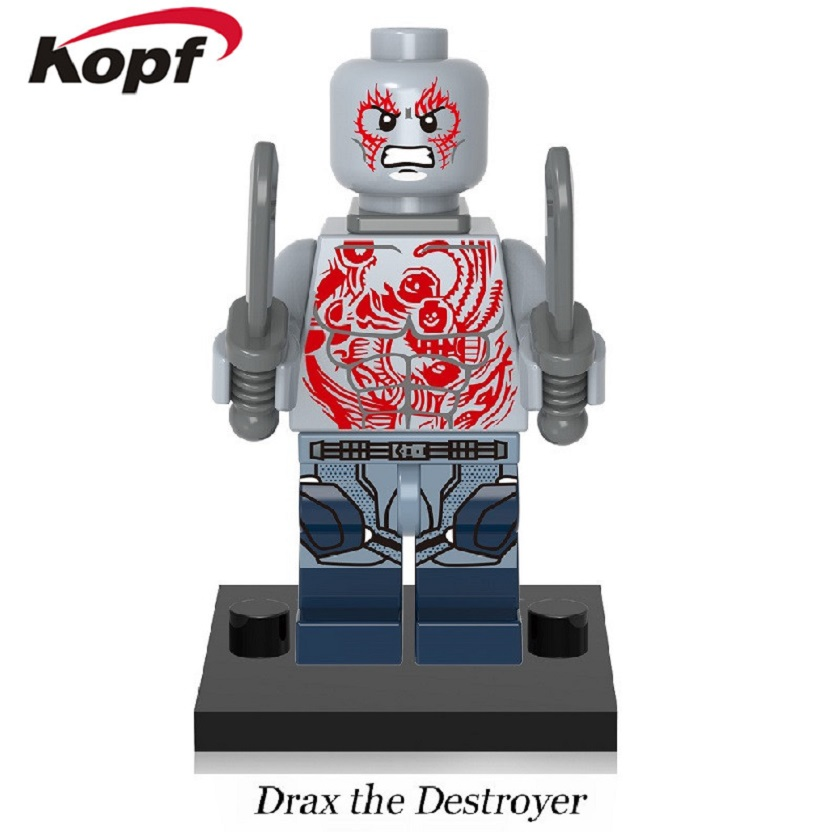 50Pcs Super Heroes Drax the Destroyer Guardians of the Galaxy Chessman Rocket Racoon Building Blocks Toys for children XH 606