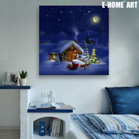E HOME Stretched LED Canvas Print The Night Of The Snow Hut Christmas Series LED Flashing