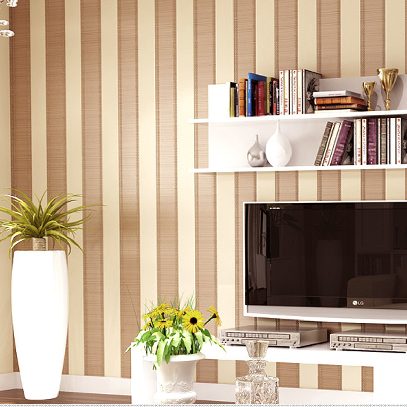 Modern simple striped wallpaper non woven 3d wall paper for Mural 3d simple
