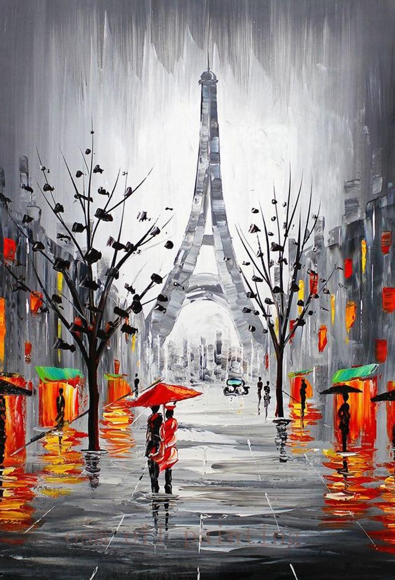 Handmade Modern Abstract City Canvas Eiffel Tower