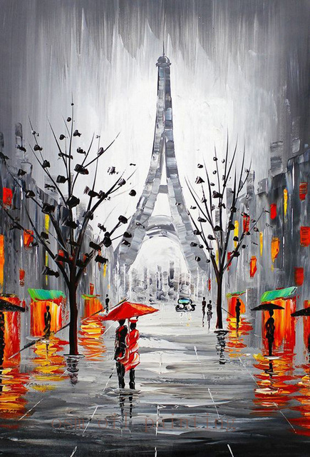 Handmade Modern Abstract City Canvas Picture Eiffel Tower