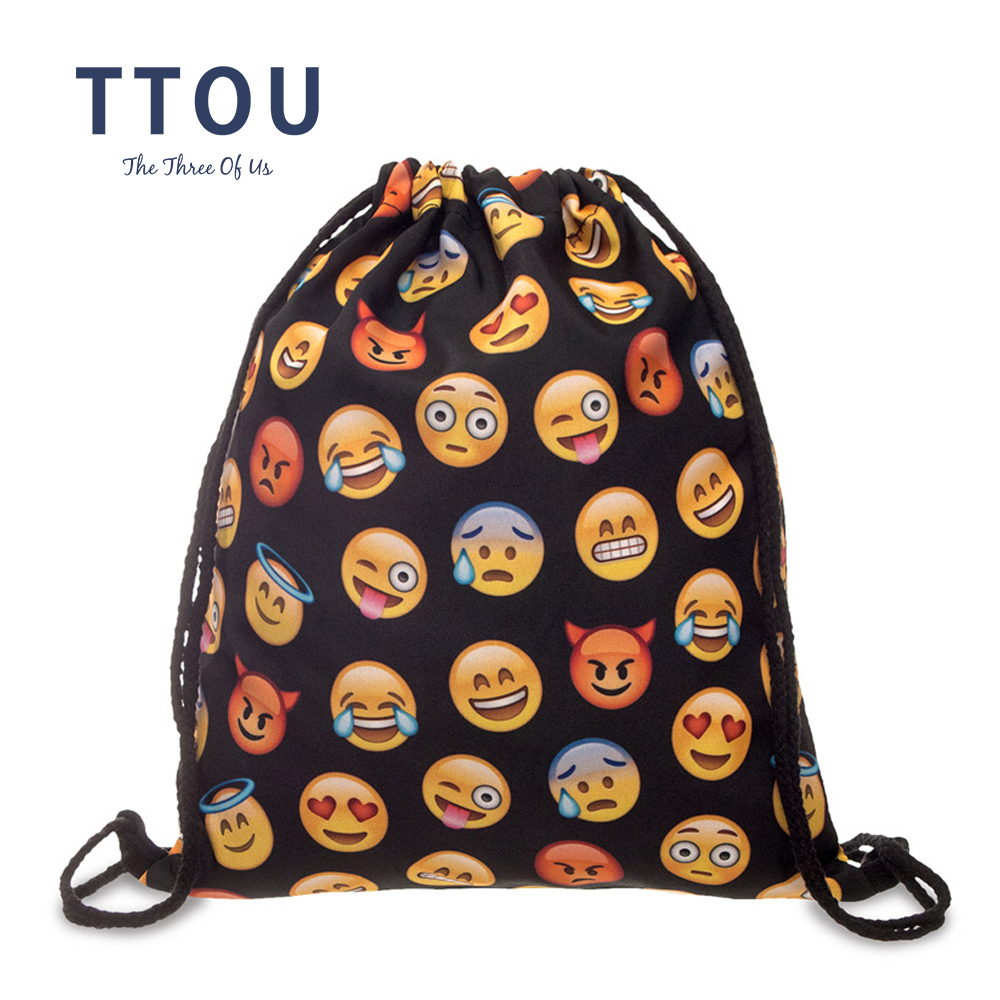 TTOU Women Casual Backpack Fashion 3D Printing Backpack Travel Softback Men Mochila Drawstring Bag School Backpacks For Girl