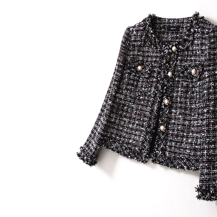 New WT0004 spring and autumn women s wear new black style small fragrant wind lattice tweed short coat female