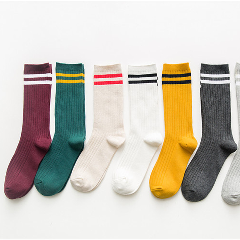 Funny Cute Japanese High School Girls Cotton Loose Striped Crew Female   Socks   Colorful Women Sox Harajuku Designer Retro Hosiery