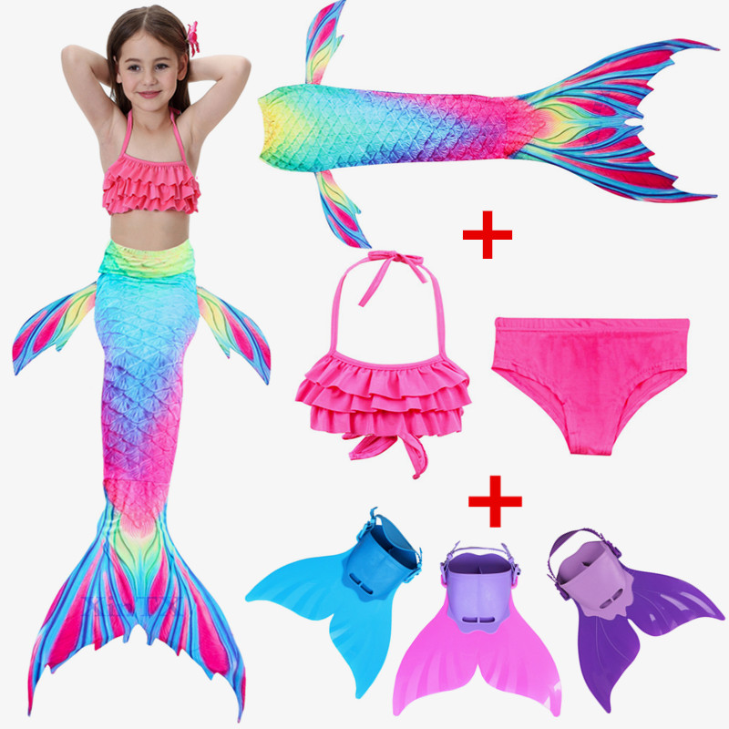 Kids Princess Mermaid Tail Swimmable Bikini Girls Mermaid Swimsuit Bikini Girls Mermaid Tail With Fin Monofin Flippers Swimsuit