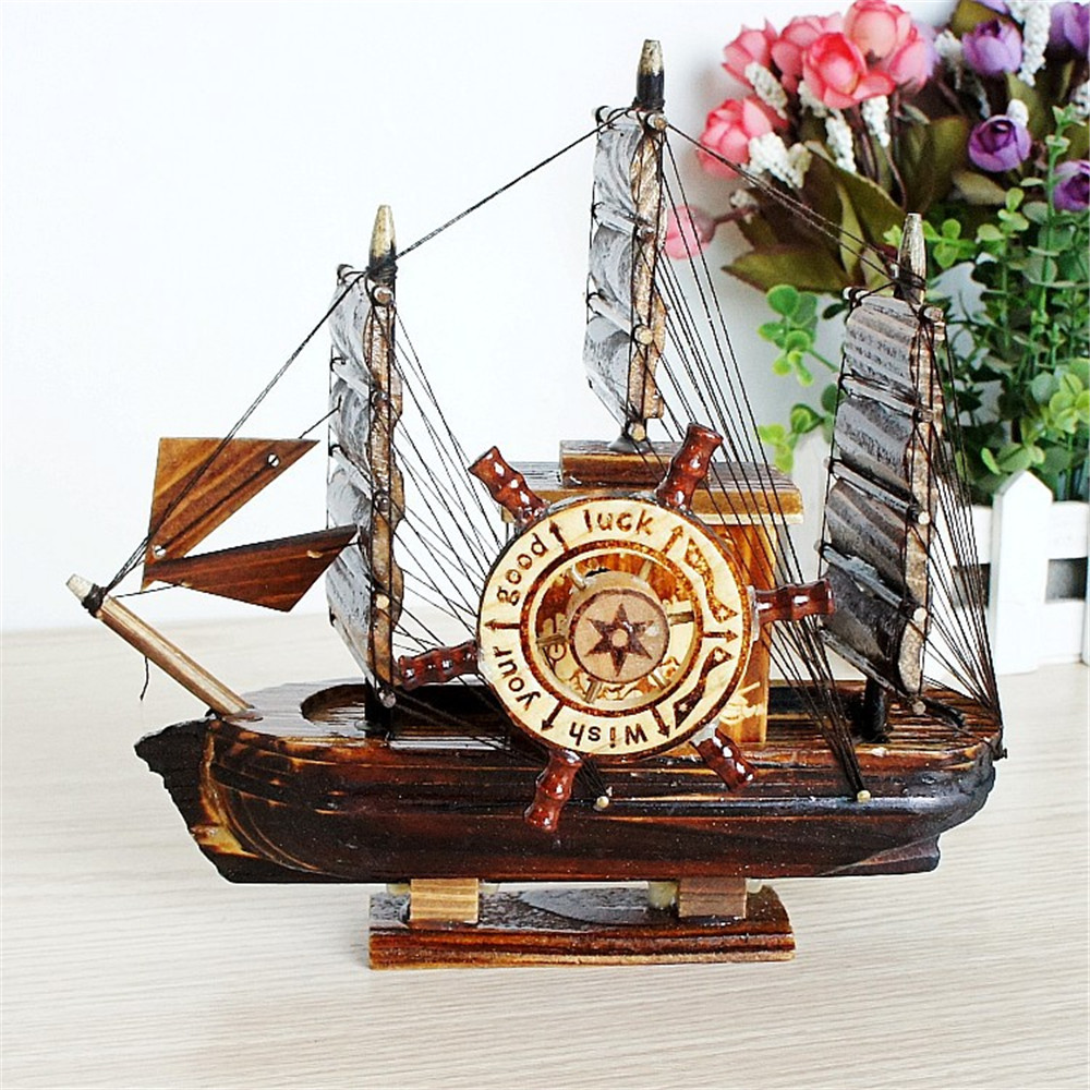 Boat Model Music Box Small Boats Carving Statues Boys Special Birthday Gift New Arrival Cool Desk Decor Office Bedroom Ornaments