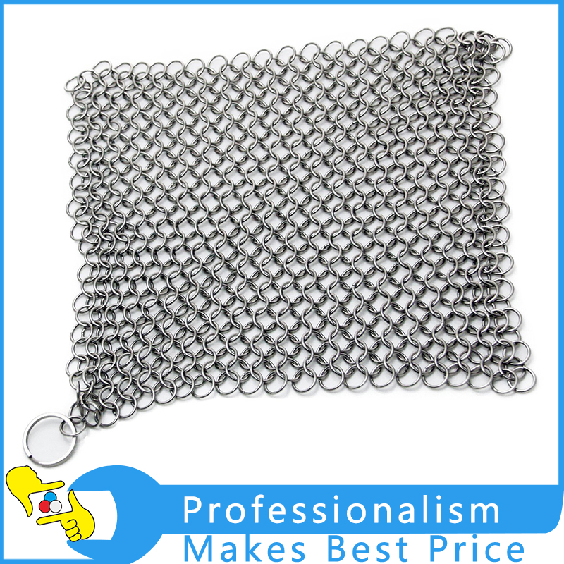 8*8Inch Stainless Steel Cast Iron Chainmail Scrubber Ringer scourer Kitchen cleaning tool