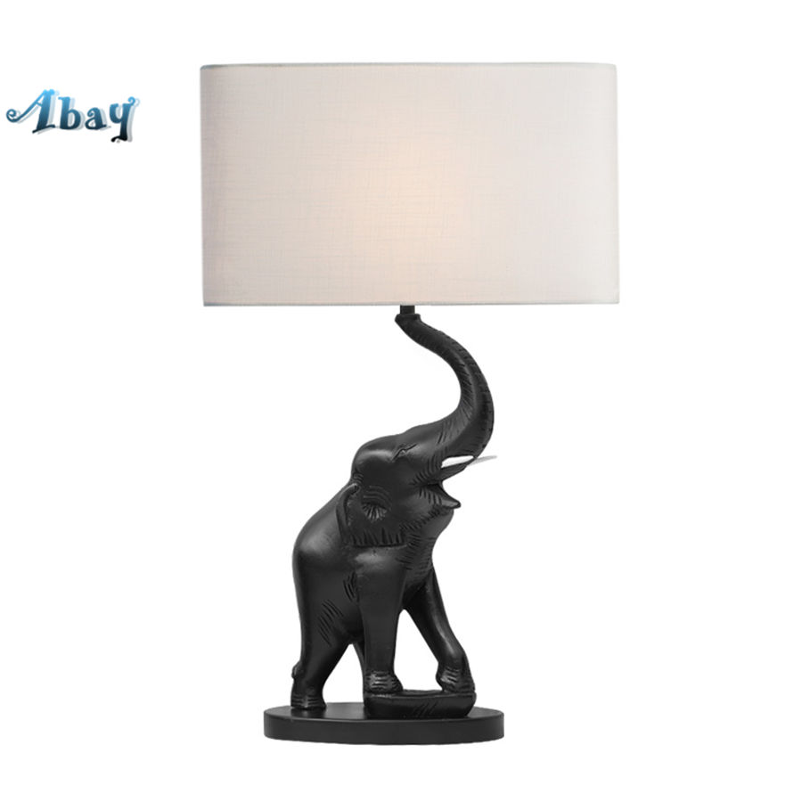 Art Deco Handgemaakte Loft Hars Olifant Stof Tafellamp Voor Woonkamer Kantoor Slaapkamer Studie Bureaulamp Home Deco Led Tafel Licht Uitstekende Eigenschappen