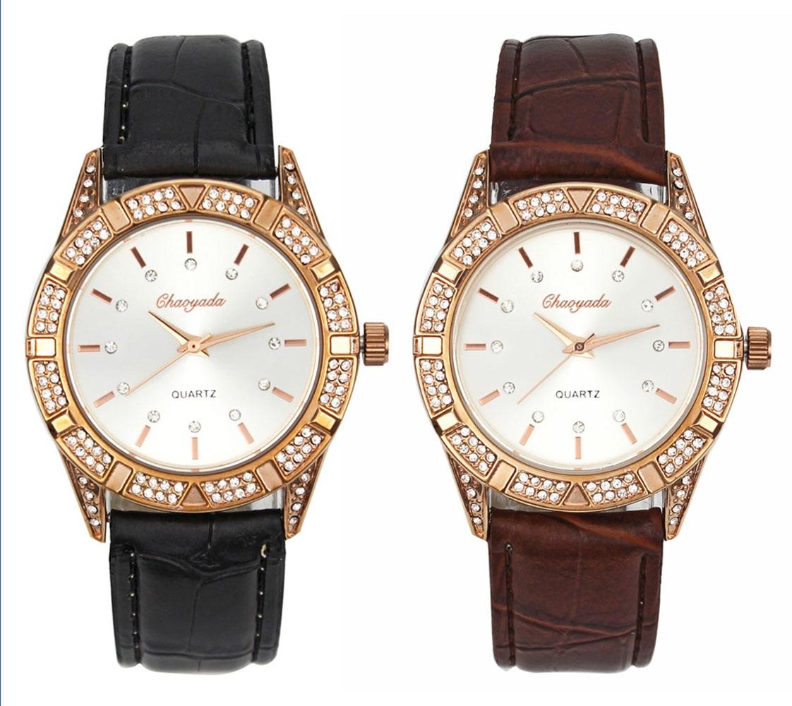 Luxury Rhinestone Rose Gold Women Ladies Girl Leather Crystal Quartz Wrist Watch