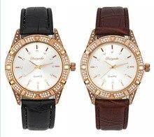 De luxe Strass Or Rose Femmes Dames Fille En Cristal En Cuir Quartz Montre-Bracelet
