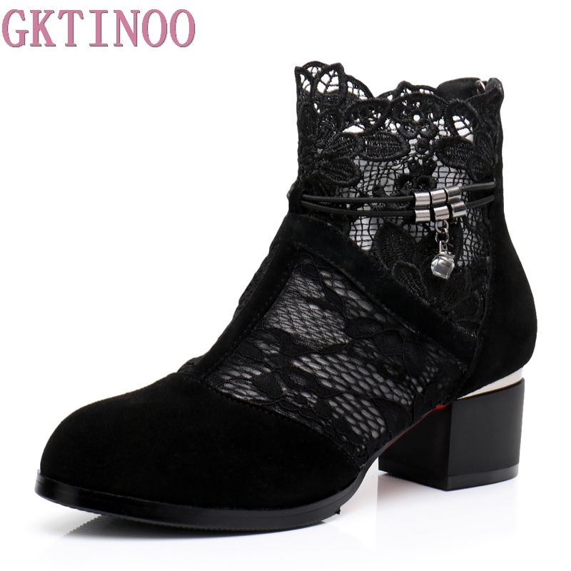 GKTINOO Genuine Leather Women Shoes Hollow-Out Ankle Boots Mesh Summer Boots Zapatos Chaussures Femme Square High HeelsGKTINOO Genuine Leather Women Shoes Hollow-Out Ankle Boots Mesh Summer Boots Zapatos Chaussures Femme Square High Heels