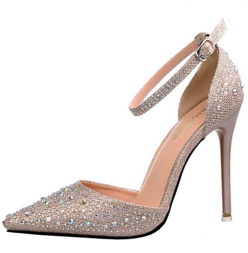 Champagne gold silver pink rhinestone crystal clear wedding bridesmaid