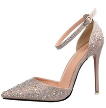 Champagne gold silver pink rhinestone crystal clear wedding bridesmaid shoes ankle strap pointed toe d'orsay two piece pumps