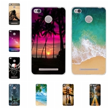 For Xiaomi Redmi 3 3s Case Ultra-thin Soft TPU Silicone Phone Cover Beach Patterned 3S S Coque