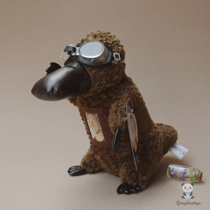 Real Life Plush Toys Platypus With Glasses Doll Children Birthday Gift Stuffed Animals Present Toy Store