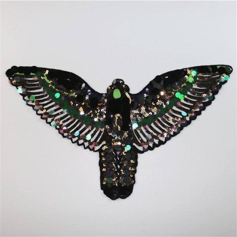 Sequins patch 435mm silver hawk deal with it iron on patches for clothing 3d t shirt mens, T shirt Women Christmas gift
