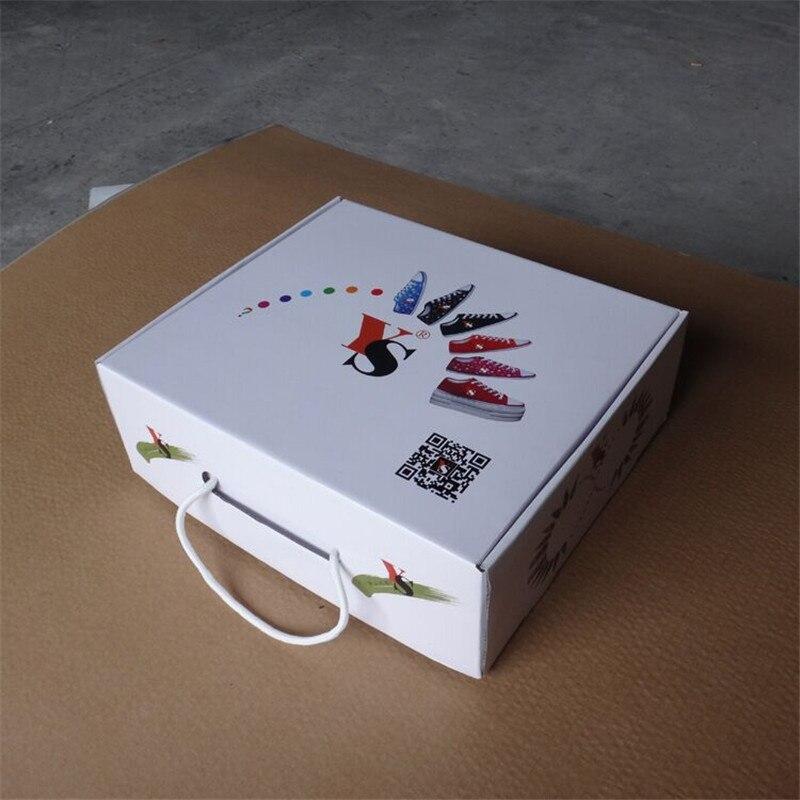 Producent 1000 sztuk/partia luksusowe niestandardowe kolorowe drukowanie z tektury falistej tektury buty pudełka z uchwytami składany papier pudełko na buty w Torby na prezenty i przybory do pakowania od Dom i ogród na  Grupa 1