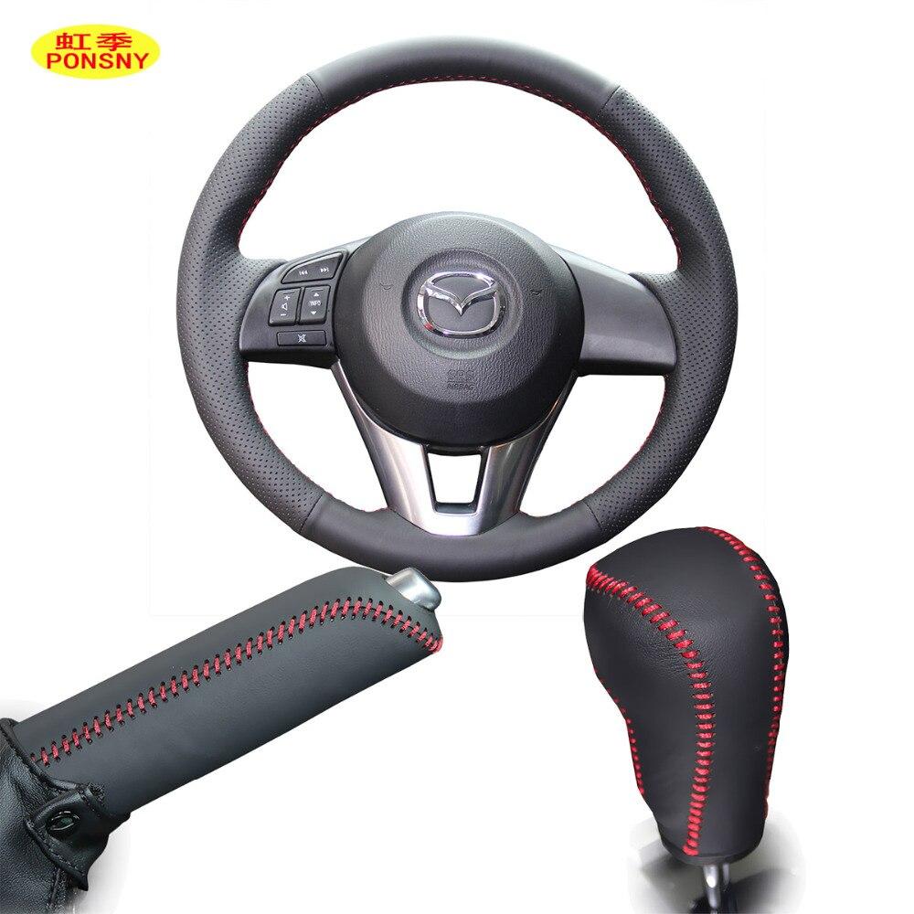 PONSNY Gear/Handbrake/Steering Genuine Leather Covers Case For Mazda CX-4 CX-5 Axela Mazda 6 Atenza 2014-2017 Hand-stitched Cove
