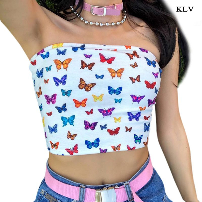 Women Sexy Off Shoulder Strapless Tube Crop Top Multicolor Butterfly Print Slash Neck Bandeau Slim Beach Party Mini Streetwear