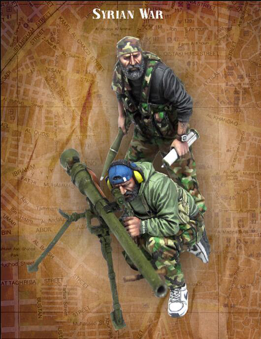 1/35 Syrian War Include 2 Soldiers    Toy Resin Model Miniature Kit Unassembly Unpainted