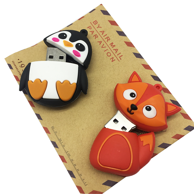 Hot usb flash drive 2.0 pen drive 32GB pendrive 4GB 8GB 16GB 64GB 128GB flash memory Fox Bee Owl Penguin Cute gift free shipping (10)
