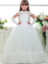 Three Quarter Sleeves Lace Fancy Flower Girls Dress Kids Children Party Clothing Long Prom Formal Gowns For Weddings Evening