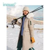 Инман 2018 Зима Новое поступление меховой воротник с капюшоном контрастного Цвет большой теплый карман Для женщин длинный пуховик