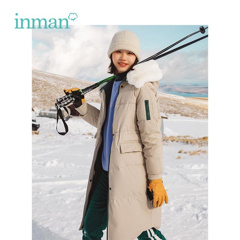 INMAN Winter New Arrival Fur Collar Hooded Contrast Color Big Warm Pocket Women Long Fashion   Down     Coat