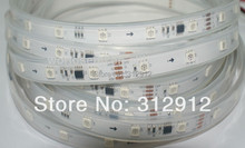 5m DC24V DMX WS2821A LED pixel strip;36pcs 5050 RGB LEDs/m with 6pcs WS2821A IC/m(6pixels/m);white pcb;IP66;in silicon tube