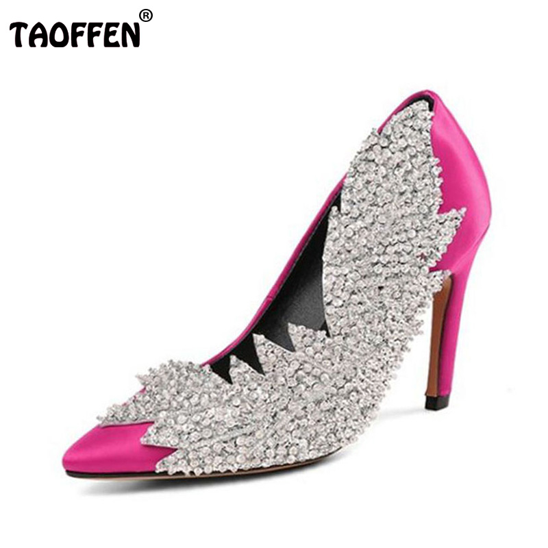 TAOFFEN Size 34-43 Sexy Women Real Genuine Leather High Heel Shoes Women Beading Pointed Toe Thin Heel Pumps Women Wedding Shoe esveva 2017 ankle strap high heel women pumps square heel pointed toe shoes woman wedding shoes genuine leather pumps size 34 39
