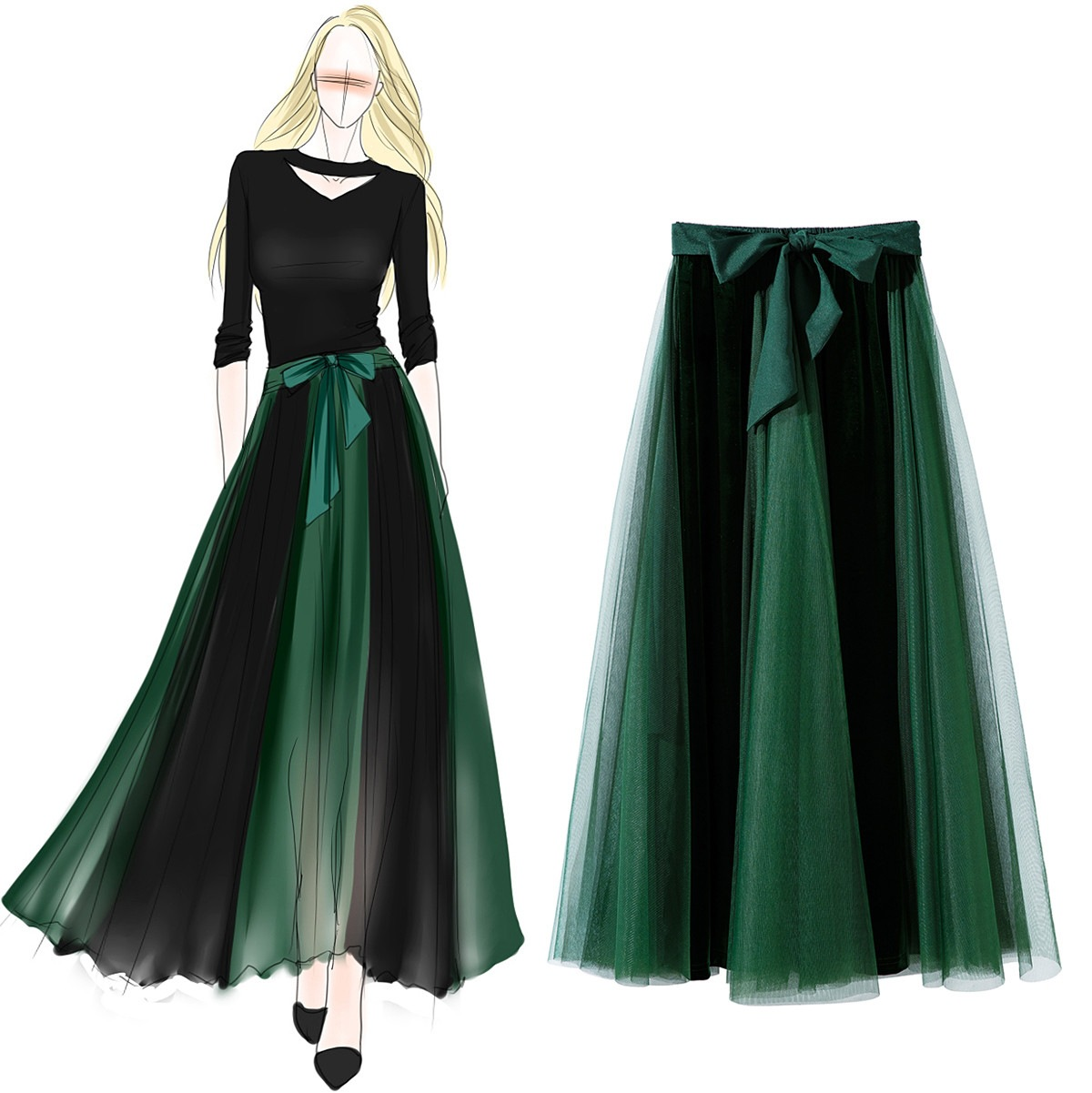 2019 Fashion Spring Summer New-Coming European High Elasticity Pleated Street Style Women Long Skirts