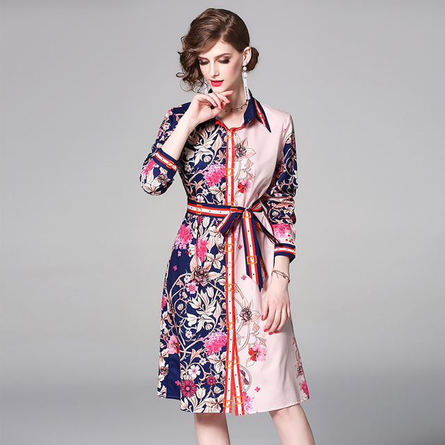 e85a30312bf4 High Quality Newest Fashion Runway Bow Collar Maxi Dress Women s Long  Sleeve Retro Art Printed Designer