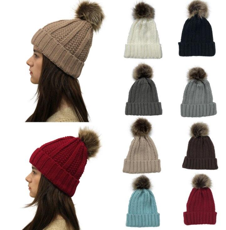 Hat Caps Beanies-Hats Winter Women Cute Pompom 100pcs Crochet Mom Bobble-Ball Wool-Fur