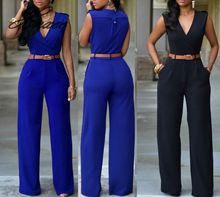 Women Sexy Jumpsuit Office Lady V Neck Sleeveless Rompers FEmale Wide Loose Leg Pants Playsuit Sashes Jumpsuits