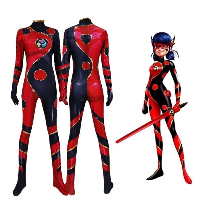 Dragon Ladybug Marinette Cosplay Costume 3D Print Cheap Superhero Halloween Little Beetle Zentai Suit for Adults