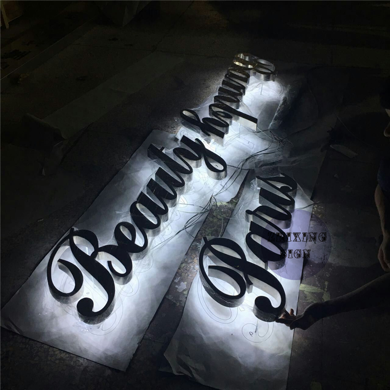 Factory Outlet Outdoor 304# Stainless Steel Back Lit Sign Letters For Shop And Hotal