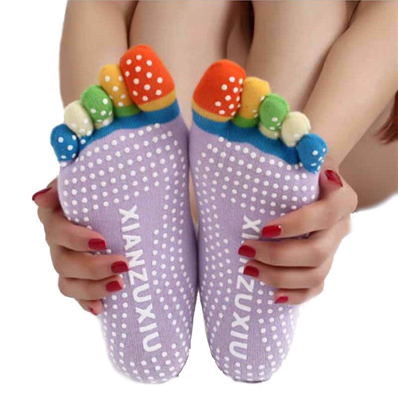snowshine YLI Womens Fitness 5-Toe Cotton Colorful Non Slip Massage Toe Socks Full Grip socks