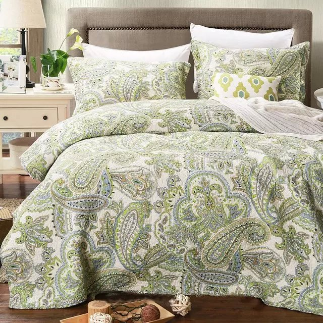 Green Color Luxury Boho Quilt Blanet Sheet Size 230x250cm Summer Quilted Bedspreads 100